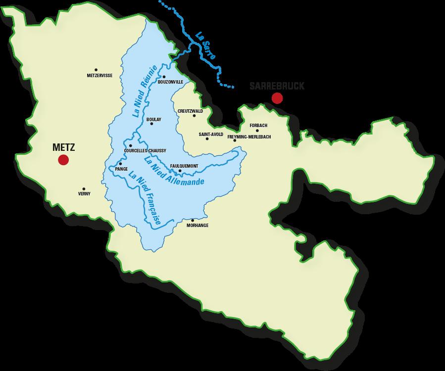 carte du bassin versant des 3Nied