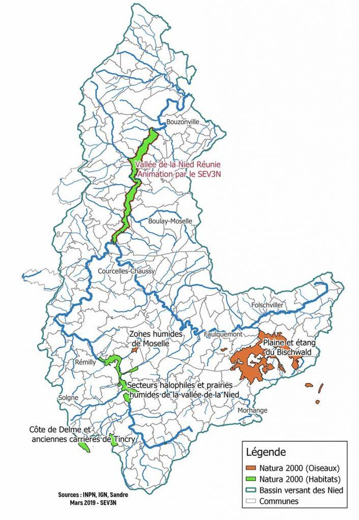 Carte des sites Natura 2000 au sein du bassin versant des 3Nied